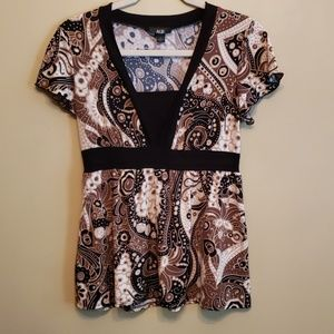 AGB Women's Stretch Short Sleeve Blouse   Size S